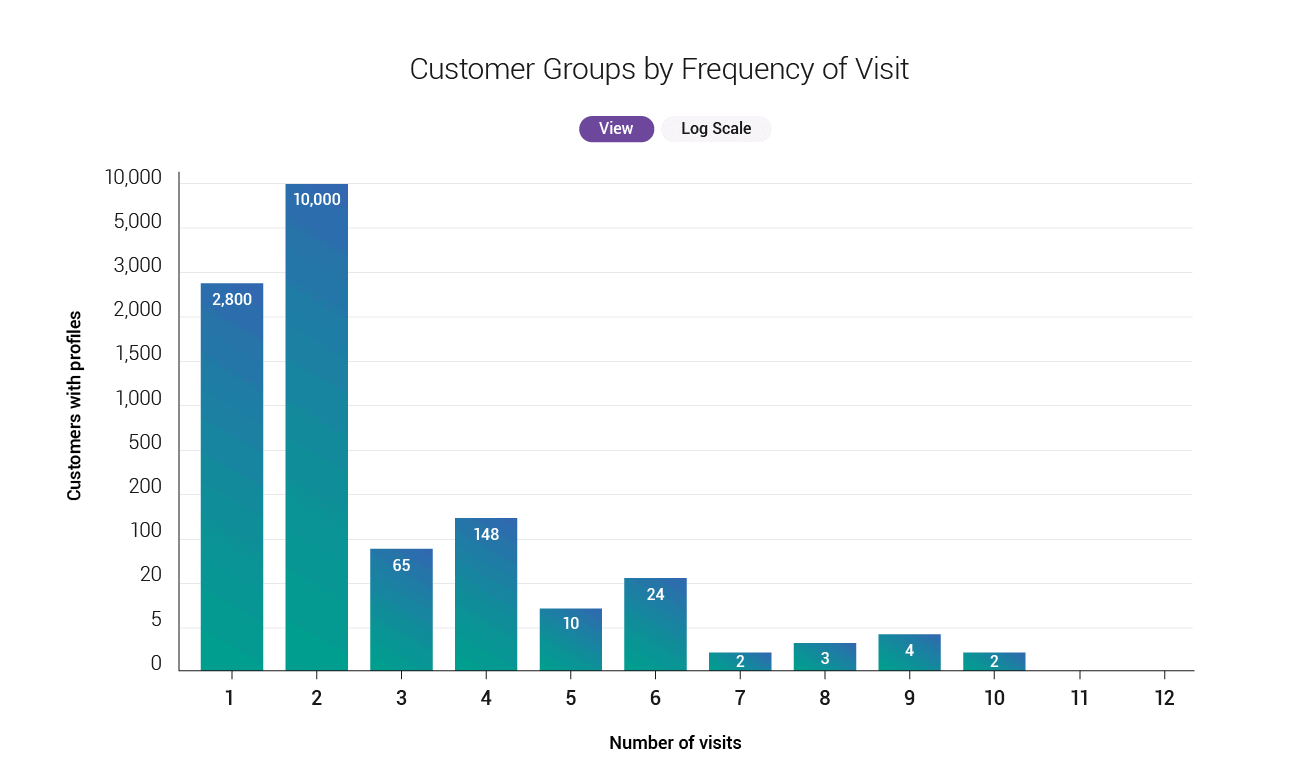 Logarithmic view of customer groups by frequency of visit